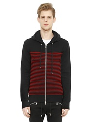 Balmain Hooded Zip Up Striped Wool Sweater Black Red