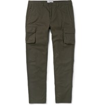 Ami Alexandre Mattiussi Slim Fit Cotton Gabardine Cargo Trousers Green