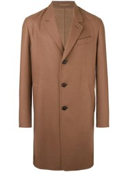 Caruso Notched Lapel Mid Coat Brown