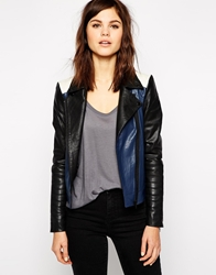 Y.A.S Aviator Leather Biker Jacket In Colourblock Multi