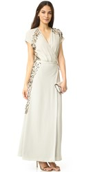 By Malene Birger Wynona Embellished Wrap Gown Pale Beige Green