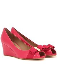 Salvatore Ferragamo Sissi Patent Leather Wedges Pink