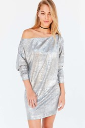 Silence And Noise Slouchy Metallic Off The Shoulder Mini Dress Silver