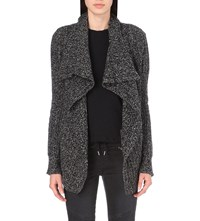 The Kooples Draped Wool And Cashmere Blend Cardigan Black White