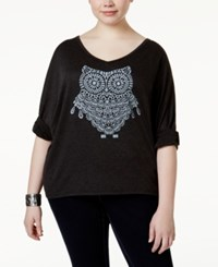 Ing Plus Size Owl Graphic T Shirt Charcoal Grey