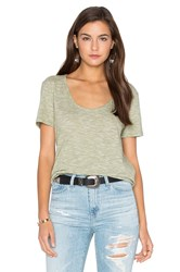 Bobi Mini Striped Jersey Scoop Neck Tee Green