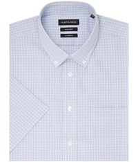 Austin Reed Check Classic Fit Short Sleeve Button Down Formal Blue