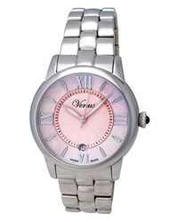Venus Of Switzerland Impetus Stainless Steel Time Date Bracelet Watch Pink