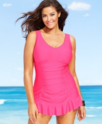 Kenneth Cole Reaction Plus Size Ruched Ruffle Hem Swimdress Women's Swimsuit Punch