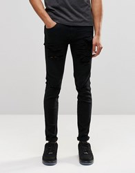 Dr. Denim Dr Denim Snap Skinny Jeans Black Ripped Knee And Thigh Black Ripped