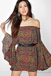 Boohoo Wide Sleeve Off The Shoulder Dress Multi