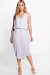 Boohoo Anna Wrap Front Occasion Dress Grey
