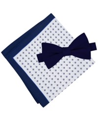 Tommy Hilfiger Men's Solid To Tie Bow Tie And Micro Neat Pocket Square Set Navy