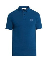 Stone Island Short Sleeved Cotton Pique Polo Shirt Light Blue