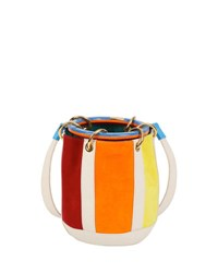 Edie Parker Small Olivia Suede And Linen Bucket Bag Rainbow