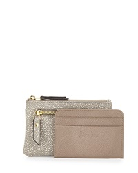Neiman Marcus Small Faux Leather Coin Purse Gray