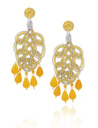 Anna E Alex Yellow And Silver Pavone Chandelier Earrings