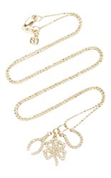 Sydney Evan Micro Pave Lucky Trio Set With Clover Shamrock And Horse Shoe Gold