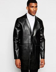 River Island Faux Leather Overcoat Black