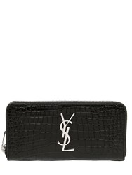 Saint Laurent Croc Embossed Leather Zip Around Wallet