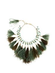 Rosantica By Michela Panero Faggio Quartz And Feather Necklace Green