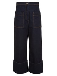 Fendi High Rise Wide Leg Cropped Jeans Denim