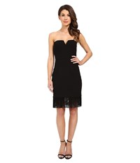 Aidan Mattox Strapless Crepe Cocktail Dress With Fringe Hem Detail Black Women's Dress