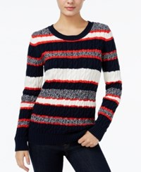 Tommy Hilfiger Cecelia Striped Cable Knit Sweater Only At Macy's Masters Navy Multi