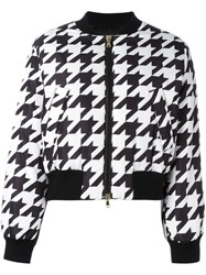 Boutique Moschino Houndstooth Pattern Bomber Jacket Black