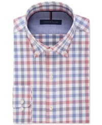 Tommy Hilfiger Men's Slim Fit Non Iron Navy Multi Check Dress Shirt