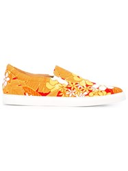 Dsquared2 Floral Slip On Sneakers Yellow And Orange