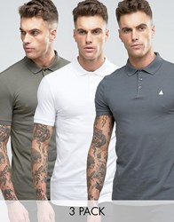 Asos 3 Pack Muscle Polo Shirt In White Grey Green Toad White Stingray Multi