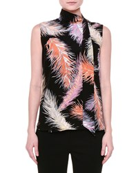 Emilio Pucci Sleeveless Feather Print Blouse Black Orange Women's