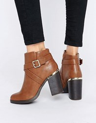 New Look Cross Strap Heel Ankle Boots Tan
