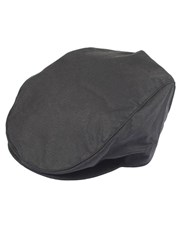 Dents Mens Wax Cotton Flat Cap Black