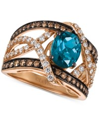 Le Vian Chocolatier London Blue Topaz 2 Ct. T.W. And Diamond 9 10 Ct. T.W. Statement Ring In 14K Rose Gold