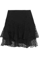 Isabel Marant Vadim Tiered Embroidered Organza Mini Skirt Black