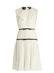 Giambattista Valli Pleated Silk Georgette Dress Ivory