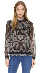 Anna Sui Lace Border Print Top Black Multi
