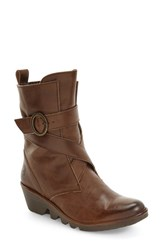Fly London Women's 'Pong' Wedge Bootie Taupe Nevada Leather