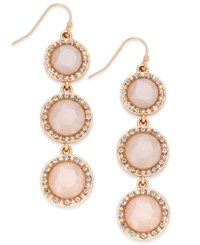 Inc International Concepts Gold Tone Stone Triple Drop Linear Earrings Only At Macy's Pink
