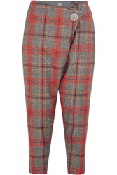 Vivienne Westwood D.F. Flap Cropped Tartan Wool Tapered Pants Red Gray