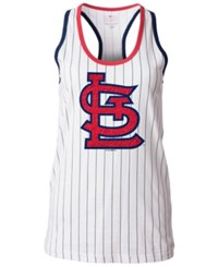 5Th And Ocean Women's St. Louis Cardinals Pinstripe Glitter Tank Top White