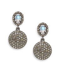 Bavna 2.30Tcw Diamonds Rainbow Moonstone And Sterling Silver Drop Earrings