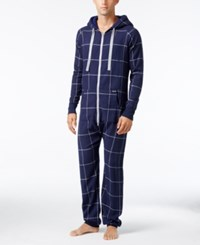 Kenneth Cole Reaction Men's Plaid Flannel Pajama Jumpsuit Navy