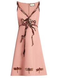 Gucci Trompe L'ail Sequin Bow Sleeveless Cady Dress Light Pink