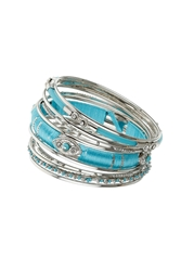 Topshop Wrap Bangle Pack Turquoise