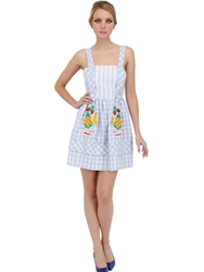 Vivetta Embroidered Linen Gingham Dress Light Blue