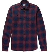 Incotex Checked Cotton Flannel Shirt Navy