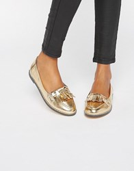 London Rebel Fringe Loafers Gold Pu